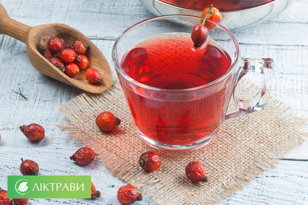 чай із шипшини та меліси при ангіні